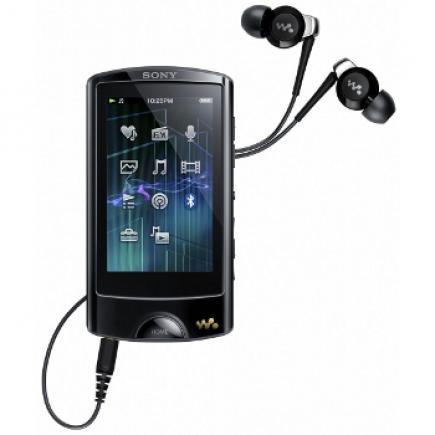 Sony NWZ-A866: vista frontale con auricolari