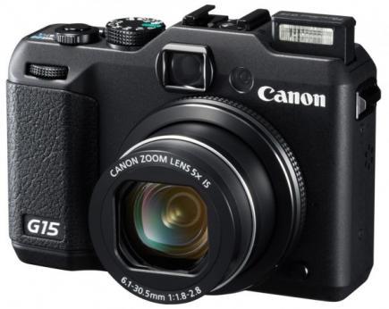 Canon PowerShot G15. vista 3/4 flash