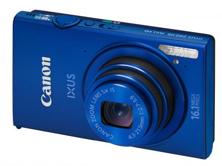 Canon IXUS 240 HS: vista 3/4 frontale blue