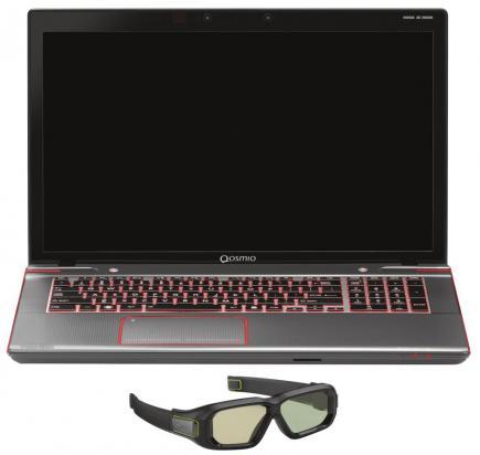 toshiba qosmio x870 3d fronte con occhialini