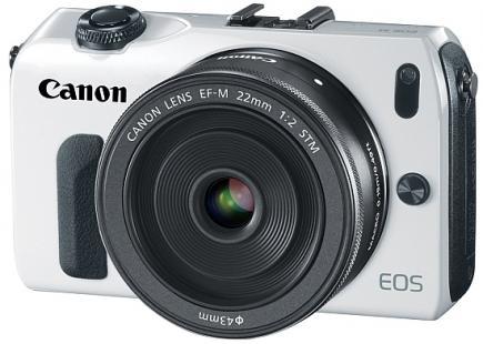 Canon EOS M: vista 3/4 frontale white