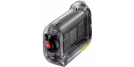 Sony HDR-AS15: vista posteriore con custodia impermeabile