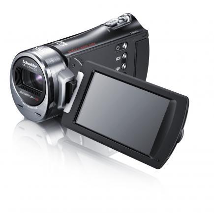 Samsung HMX-H400BP: vista 3/4 sinistra con display