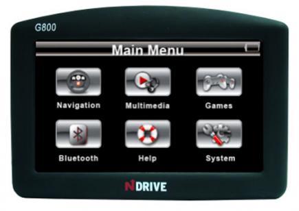 ndrive g800r fronte menu