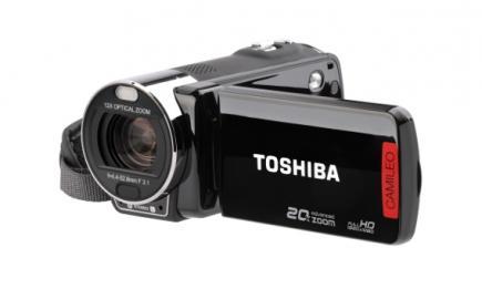 Toshiba Camileo X200: vista 3/4 con display