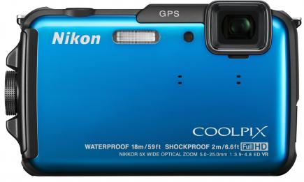 nikon coolpix aw110 fronte azzurra