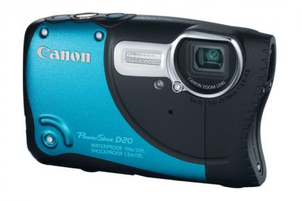 Canon PowerShot D20: vista 3/4 frontale blu
