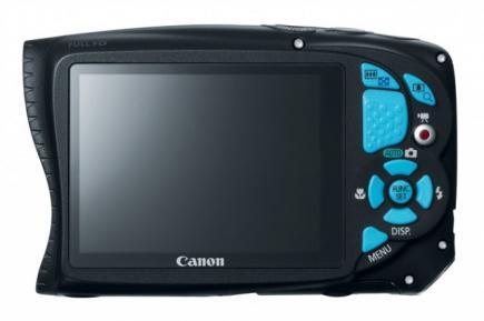Canon PowerShot D20: vista posteriore blu
