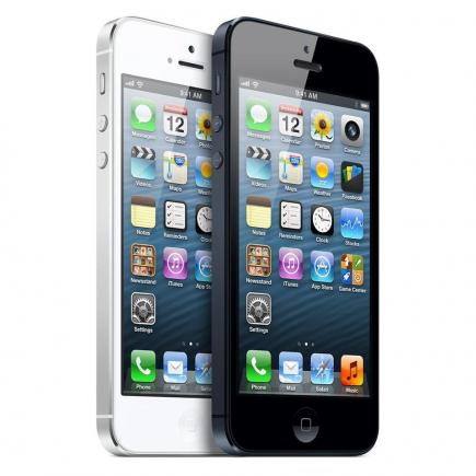 Apple iPhone 5: vista 3/4 frontale black-white